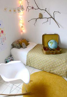 Love the mustard yellow in the rug and quilt bedroom decor, kid bedrooms, dorm room, bedroom kids, kid rooms, tree branches, yellow, globe, bedroom designs