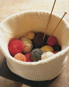 Turn an old sweater into a stylish Felted Knitting Basket -- great kitty basket, too.