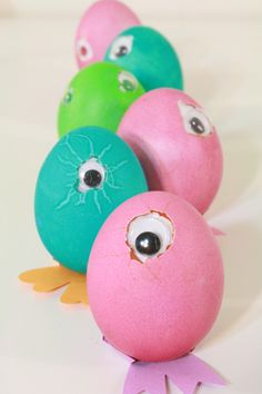 egg crafts, googly eyes, craft activities, monster egg, goog eye, easter eggs, bright colors, eye tutori, kid