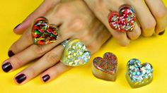 Get ready to fall in love with these fabulous and fun Glitter Heart Shaped Rings. Whimsical, yet chic, these DIY rings are a cute homemade jewelry project to make for your friends and family.