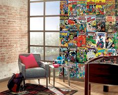 Marvel Comic Book Cover Wallpaper Mural....would be even cooler if this was done with vintage horror movie posters! (http://www.muralsuperstore.com/catalog/marvel_comic_book_covers_mural.htm)