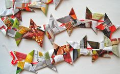 A great holiday garland made out of magazine pages.