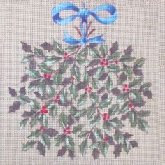 "Christmas  holly   -   8"" x 8"""