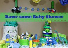 Dinosaur Rawr Baby Shower Decoration Ideas #FluffinAwesome