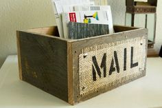 Burlap and Reclaimed Wood MAIL Box for Rustic Country Home Hand Painted and stenciled, Odds and Ends Box, Kitchen Box, Office Box