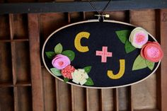 Custom Embroidery Hoop Art with Initials and Felt by CatshyCrafts, $75.00