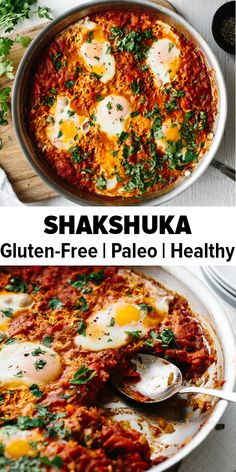 Shakshuka is an easy, healthy breakfast recipe. It's a simple combination of simmering tomatoes, onions, garlic, spices and gently poached eggs. It's also gluten-free, paleo, whole30 and keto friendly. #shakshuka #shakshukarecipe #healthybreakfast
