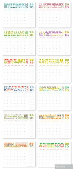 Free Printable Calendar for 2013  Lots of other cute free printables too!