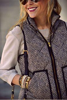 fashion, j crew, outfit, herringbone, lip colors, jcrew, closet, lipstick colors, vest