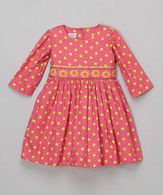 Hot Pink & Green Dot Corduroy Dress - Toddler & Girls by Noa Lily #zulily #zulilyfinds