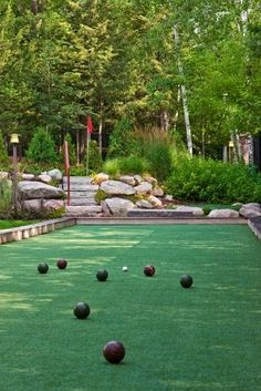 Bocce ball court in the backyard