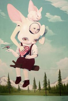 Surreal, Macabre Paintings Of Children And Animals Inhabiting A Fantasy World
