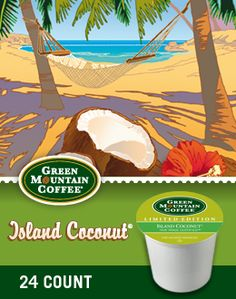 Green Mountain: Island Coconut K-Cup Coffee. Coconut Coffee?? Well, I am going to have to try this!