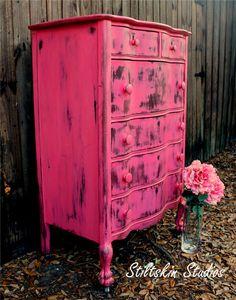 Sweetheart Pink Shabby Distressed Serpentine Tallboy Dresser via Etsy