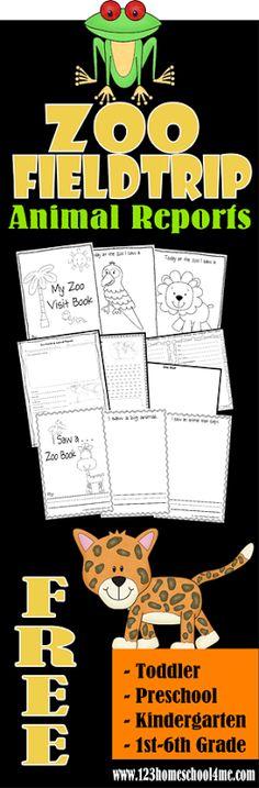 FREE! Zoo Fieldtrip Animal Reports for Toddler, Preschool, Kindergarten, and 1st-6th grade kids. #homeschooling #preschool #zoo #fieldtrips