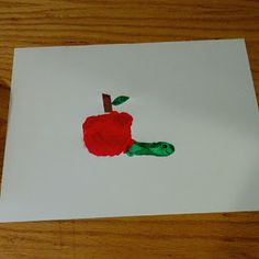 Wormy apple handprint project. Cute for the little ones.