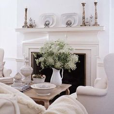 coffee tables, white living, living rooms, fireplac, mantel
