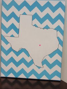 hand painted Texas state outline with chevron background 11X14 canvas, customizable. $22.00, via Etsy.