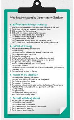 Wedding Photo Opps Checklist