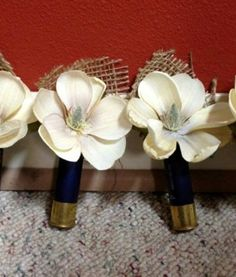 That moment when I did think of this  Shotgun shell boutonnieres!  Hens Of The Woods, Dreams,  Polyporus Frondosus, Groomsmen Ideas, Sales Shotguns, Camo Boutonnieres,  Grifola Frondosa, Shotgun Shells, Shotguns Shells Boutonnieres
