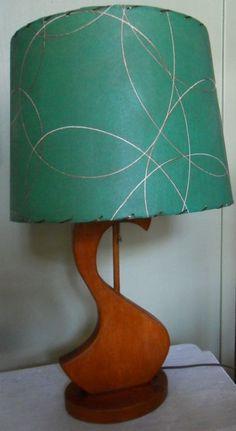 Mid Century Modern Wood Lamp w/ Green Fiberglass Shade