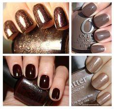 brown nail polishes for fall Fall Nails, Nailpolish, Nail Polish Colors, Nail Colors, Manicur, Brown Nail Polish, Short Nails