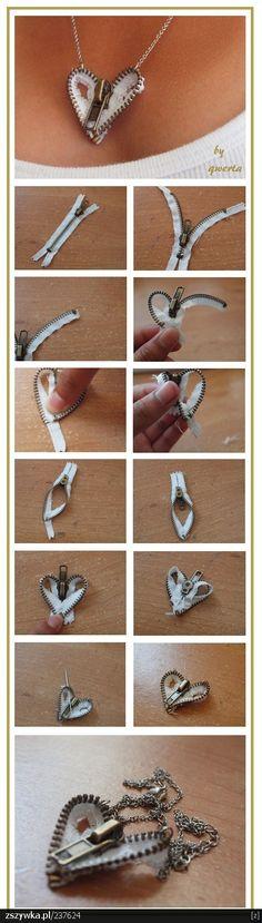 27 Useful Fashionable DIY Ideas, Zipper Heart Necklace