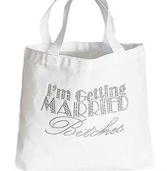 Great for the bride who's on the go, she'll be sure to get a lot of use out of this fun tote. It makes a wonderful gift for a bride during the bachelorette party or bridal shower. Made exclusively at The House of Bachelorette-The Ultimate Bachelorette Party Supply Store. #bridetotebag#gettingmarriedbitches#bacheloretteparty