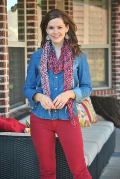 Chambray shirt and red demim