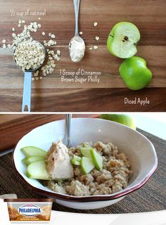 Next time you whip up a bowl of oatmeal, stir in a dollop of Cinnamon Brown Sugar Cream Cheese, and toss in a few diced apples. It makes an amazingly delicious breakfast that has all the flavours of fall we love. #recipe