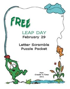 FREE 9-page Puzzle Packet for LEAP DAY.  Includes complete key.