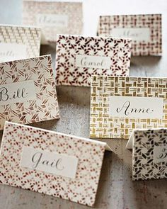 Love these place cards; Martha Stewart Thanksgiving table setting