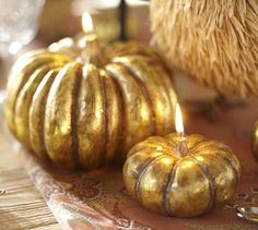 Gold Pumpkin Candles from Pottery Barn