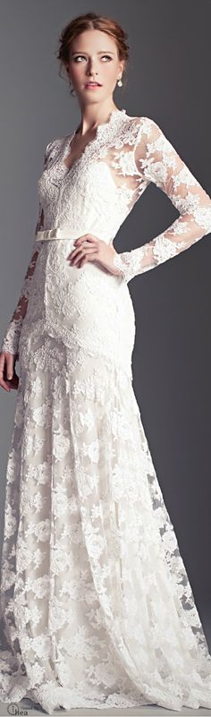 Temperley London ● White Guinevere wedding Dress - lace dress with sleeves