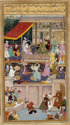 Mughal art. The child Akbar and his mother