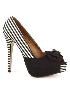 Black and White Striped High Heels