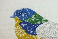 Blue Bird   stitching in negative space
