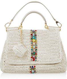 Dolce  Gabbana Raffia and leather shoulder bag