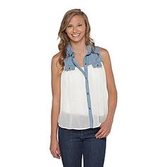 Dream Out Loud by Selena Gomez- -Junior's Chambray Shirt - Colorblock