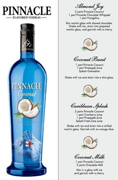 Pinnacle Coconut Recipes pinnacle vodka drinks, pinnacle coconut vodka drinks, alcohol, coconut vodka recipes, pinnacle recipes, drink recipes, pinnacle vodka recipes, pinnacl coconut, coconut recipes