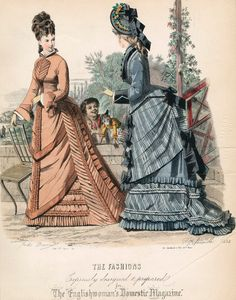 1875 September. The Englishwomen's Domestic magazine. Great way to tie the overskirt and skirt together w/ the stripes, and the black on the skirt, bodice and cuffs tie it all to the solid bodice fabric.