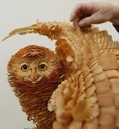 ...wood carved owl...