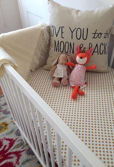 Oeuf crib with gold polka dot sheets bunny stuffed animal and Hazel Village fox