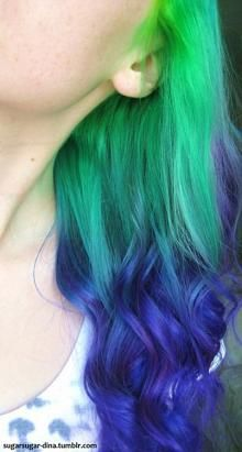 UNICORN Fantasy GREEN To PURPLE Ombre Hair by WarriorsOfCulture