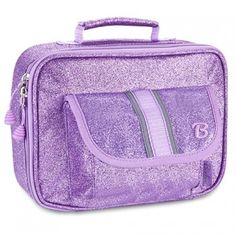 This purple sparkly lunchbox by Bixbee offers a fashionable, fun and safe way for your child to tote lunch and snacks!  The heavy-duty insulated main compartment keeps lunch fresh while the outer mesh pocket and front flap pocket offer easy access to snac