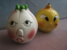 Veggie Face Salt and Pepper Set  1950's  by Glasscreekstudio, $9.95