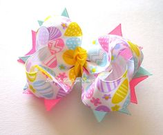 Easter Hair Bow  Medium Twisted Boutique Spike by simpledesign816,