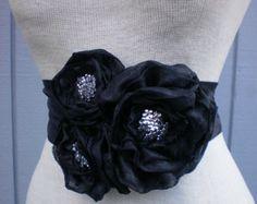 wedding Bridal Sash With a Unique Design Black Flowers