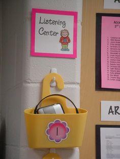 Organize your listening center with shower caddies