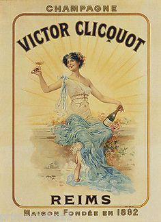 1892 FRENCH GIRL GLASS OF CHAMPAGNE VICTOR CLICQUOT FRANCE VINTAGE POSTER REPRO